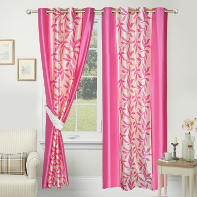 Azaani Polyester Pink Floral Eyelet Window & Door Curtain