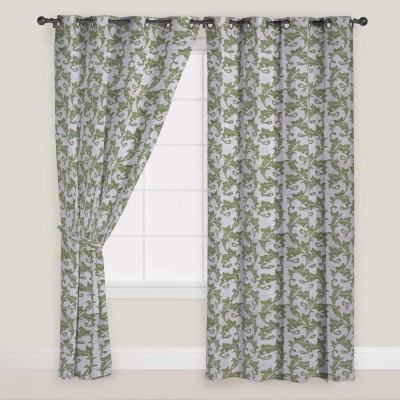 Presto Polyester Green Abstract Eyelet Door Curtain