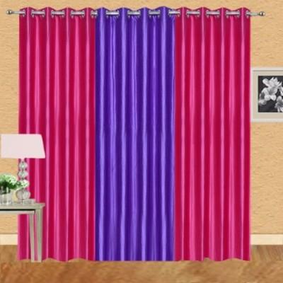 Shiv Shankar Handloom Polyester Dark Pink, Purple Crush Solid Eyelet Door Curtain
