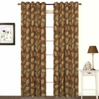 Skipper Cotton, Viscose Brown Floral Eyelet Window Curtain(153.0 cm in Height, Single Curtain)