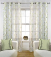 Fabutex Polyester White with Green Floral Eyelet Long Door Curtain(274 cm in Height, Pack of 2)