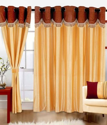 Angel Homes Polyester Beige Floral Eyelet Window Curtain