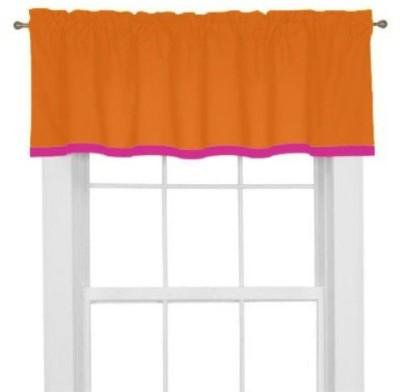 Bacati Cotton Tangerine Orange Plain Curtain Window Curtain
