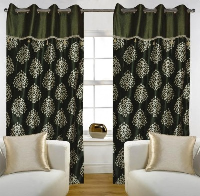 Home Candy Polyester Green Floral Eyelet Door Curtain