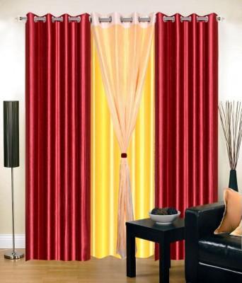 Ech Oly Polyester Maroon Plain Eyelet Door Curtain