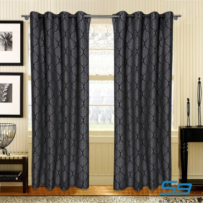 S9home by Seasons Polyester Grey Abstract Curtain Long Door Curtain