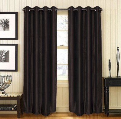 Home Fashion Gallery Polyester Brown Plain Eyelet Door Curtain