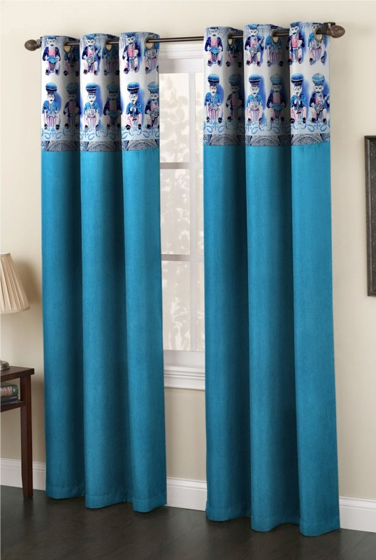 Homefab India Polyester Blue Cartoon Eyelet Door Curtain(210 cm in...