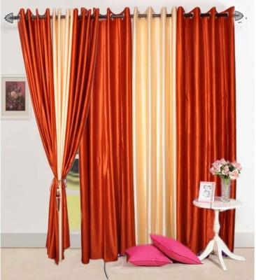Handloomhub Polyester Rust Solid Eyelet Door Curtain