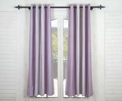 Maspar Cotton Purple Striped Eyelet Window Curtain