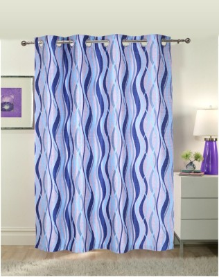 Luk Luck Home Polycotton Blue Printed Ring Rod Door Curtain