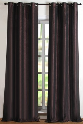 Deco Window Polyester Brown Floral Eyelet Window Curtain