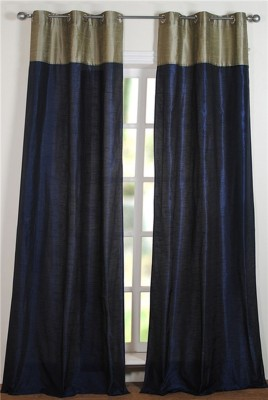 Deco Window Polyester Blue, Silver Solid Eyelet Long Door Curtain