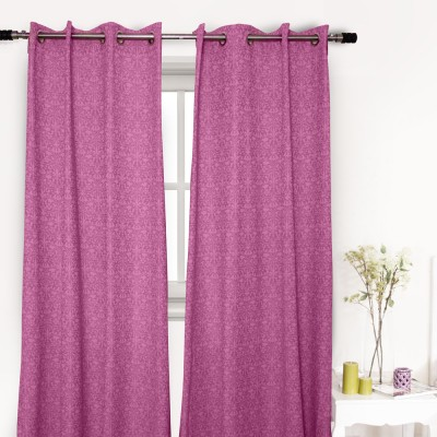 House This Cotton Pink Floral Eyelet Long Door Curtain