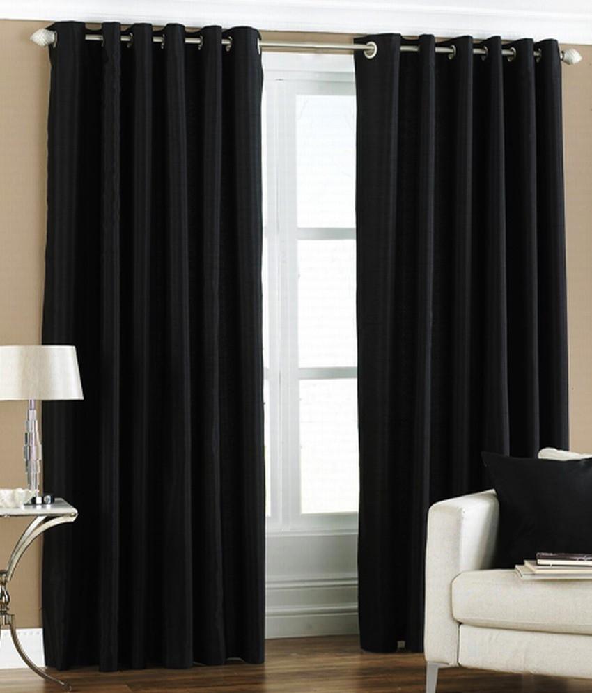 the decor store polyester black plain eyelet window curtain - The Decor Store