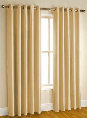 Kwality Polyester Gold Plain Eyelet Door Curtain