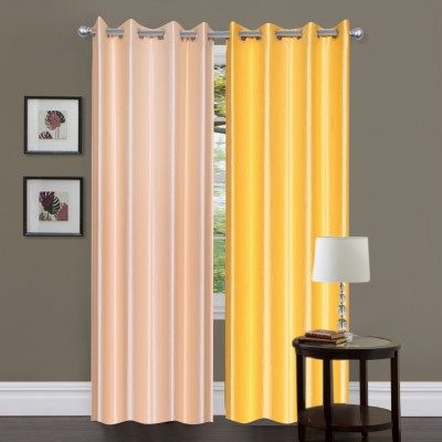 Madhav Product Polyester Beige, Yellow Solid Eyelet Door Curtain