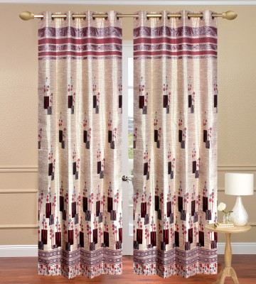 Daddyhomes Polyester Maroon Solid Eyelet Door Curtain