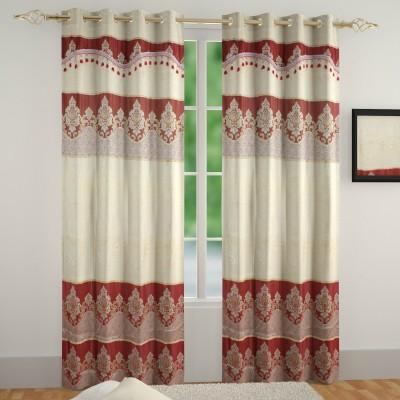 Muren Polyester Cream Self Design Eyelet Door Curtain