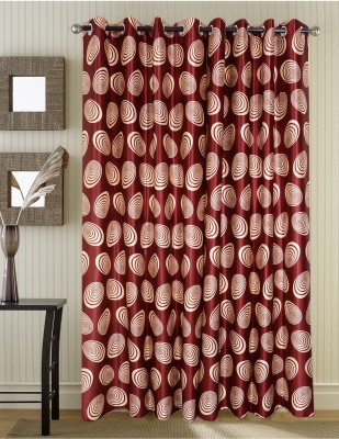 Jds Polyester Maroon Geometric Ring Rod Door Curtain
