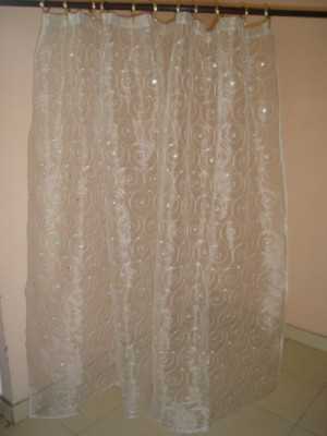 Little Home Polyester White Embroidered Tab Top Door Curtain