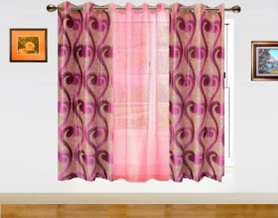 Dekor World Polyester Pink Abstract Eyelet Window Curtain