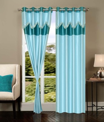 Shopgrab Polyester Blue Printed Eyelet Door Curtain