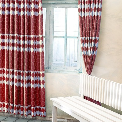 New Fabric Art Jacquard Maroon Printed Eyelet Window Curtain