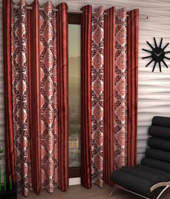 Jai Ganga Polyester Multi-Colour Floral Curtain Long Door Curtain