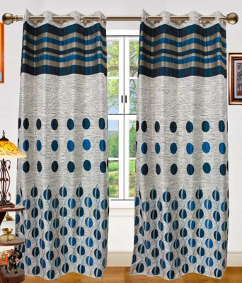 STC Jacquard Blue Self Design Eyelet Door Curtain