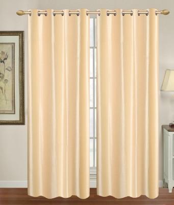HomeTex Polycotton Beige Plain Eyelet Long Door Curtain