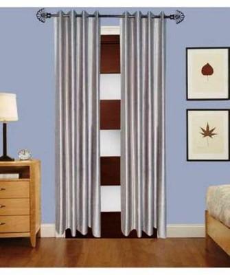 Swastik Polyester Grey Self Design Eyelet Window Curtain