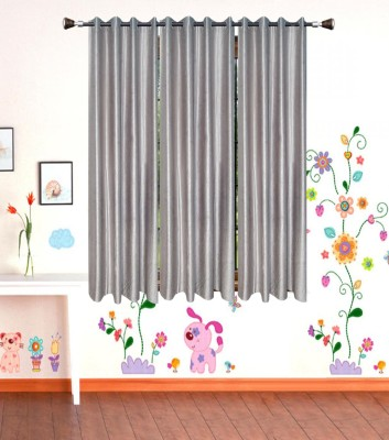 IndianOnlineMall Polyester Gray Plain Eyelet Window Curtain