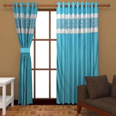 Royal Shri Om Polyester Blue Printed Eyelet Window & Door Curtain