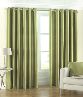 The Decor Hub Polyester Green Plain Eyelet Door Curtain