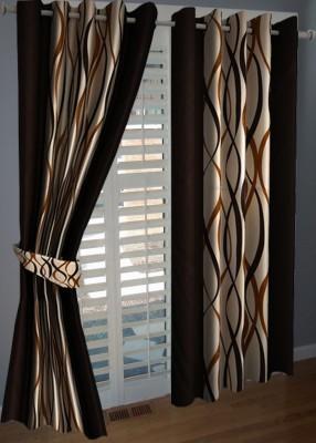 KANHA Polyester Multicolor Abstract Eyelet Window & Door Curtain