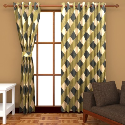 Abhomedecor Polyester Multicolor Checkered Eyelet Window Curtain