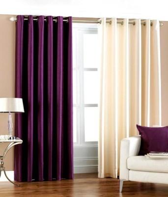 Export Hub Polyester Wine, Beige Plain Eyelet Door Curtain