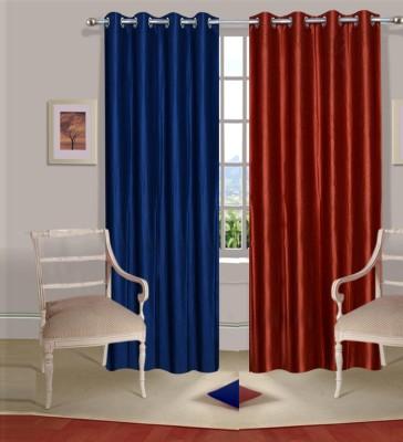 Excel Bazaar Polycotton Neavy-Blue-Rust Plain Eyelet Door Curtain