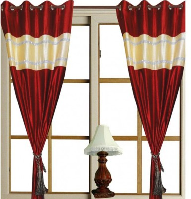 Swastik Polycotton Red Plain Eyelet Window & Door Curtain