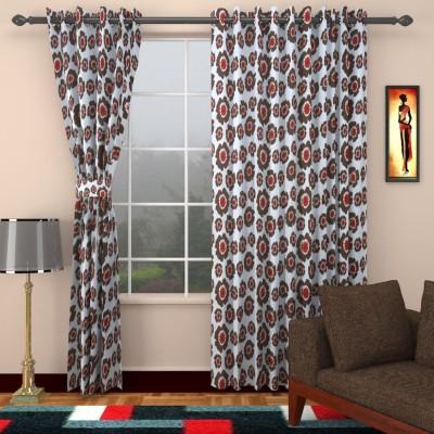 SEVEN STARS Cotton Mehendi Floral Eyelet Window Curtain