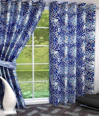 Home Fashion Gallery Polyester Blue Checkered Eyelet Long Door Curtain
