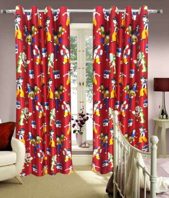 Curtains By Maya Designs Blends Red Printed Eyelet Window Curtain