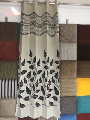 Royal Polyester Coffee, Cream Striped Curtain Door Curtain