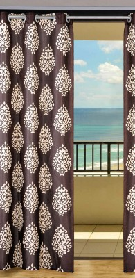 Home Aid Polyester Brown Abstract Eyelet Door Curtain