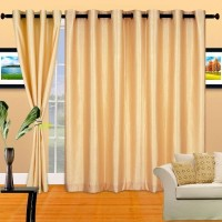 Cortina Polyester Gold Floral Eyelet Long Door Curtain(270 cm in Height, Single Curtain)