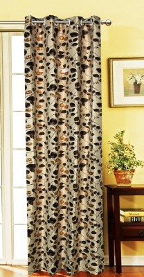 India Furnish Polycotton Brown Floral Eyelet Long Door Curtain