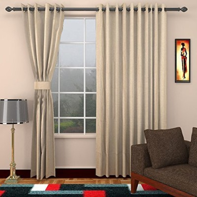 CPM HANDLOOM Cotton Taupe Plain Eyelet Window & Door Curtain