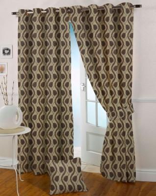 Presto Polyester Brown Floral Eyelet Door Curtain
