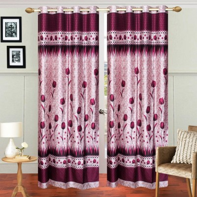 Fresh From Loom Polyester Purple Floral Eyelet Door Curtain